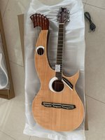 Custom Made Harp Guitar 6 6 8 Saiten Natürliche Holz Akustische E-Gitarre Doppel-Nacken-Gitarre Freies Verschiffen