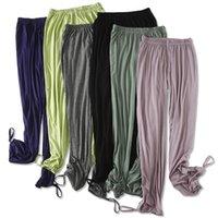 여성용 바지 카프리스 여름 여성 캐주얼 느슨한 높은 탄성 허리 넓은 다리 패션 주름진 바지 모달 소프트 간단한 조깅 홈웨어