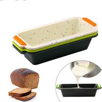 Rectangular de silicona Pan cacerola del molde de pan de la tostada del molde de pastel cuadrado largo bandeja para hornear la torta del molde antiadherente para hornear Herramientas