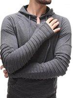 مصمم أضعاف هوديس زائد حجم البلوز البلوز الإنتصارات كم طويل لون الصلبة ملابس رجالي الربيع رجالي سليم