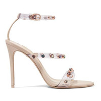Fashion Rosalind Crystal-embellished PVC and Suede Sandals Sky-high Heels Women Fashion Party Sexy Dress High Heel Shoes Cs02