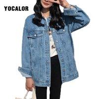 Vestes de femmes Yocalor Solid Jean Jean Jean Jacket pour femmes Casual Casual Blue Coats Femme Outwear Denim Féminin Chaquetta Mujer Coat automne