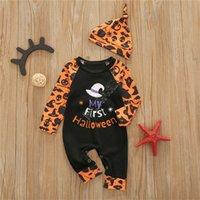 Newborn Halloween Rompers Комбинезон с кепкой 2 шт. Установленные комбинезоны Мальчики Девочки цельного общего малыша младенца младенца пэчворк Paysuit D82608