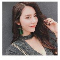 H coreana de modo más marcado grandes de madera pendientes de la mayor de las señoras Todo -Match largo minimalista temperamento gota para el oído pendientes para las mujeres