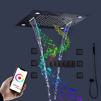 2020 New Modern Bathroom Thermostatic Black Shower Faucets Set 24 Inches LED Ceiling Mounted Music Rain Shower Head System With Body Jets