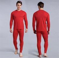 مجموعات قطعة الشتاء O-الرقبة كم طويل سليم لون الصلبة الرجال الملابس الداخلية عارضة الدافئة أوم قطعتين بذلات رجالي الحرارية 2