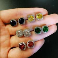 5 Stil Fine Jewelry Einfache 925 Sterlingsilber-multi Farben-Rundschnitt Smaragd CZ-Diamant-Edelstein-populäre Frauen-Bolzen-Ohrring für Liebhaber-Geschenk
