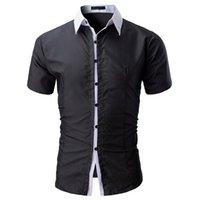 Лето Мужчины Формальная рубашка Мода класса люкс с коротким рукавом Твердая Бич Рубашки Повседневный Камиза Masculina Манга Curta Social Мужской Одежда