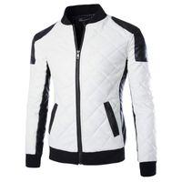 Бренд тонкие мужчины бомбардировщики куртки повседневная мода плед искусственная кожаная куртка Jaqueta de couro черный белый плюс размер 5xl 6xl