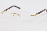 التصميم بدون إطار الموضة التجارية الجديدة للرجال ذهبية فضية واضح عدسة حرية الملاحة 8200757 الأرجواني بلانك نظارات الحجم: 56-18-140mm