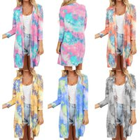 New style V- neck tie dye Women kimono Cardigan casual colorf...