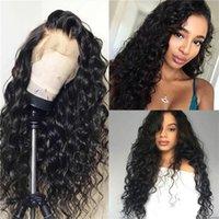Su dalgası insan saçı dantel peruk ile toptan% 100 Virgin Brezilyalı insan saçı dantel ön peruk