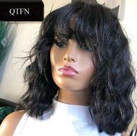 Curly Virgin Wig Peruvien Malaysian Remy Cheveux Partie libre Perruques de cheveux humains Pour Femmes Couleur Naturelle Machine pleine Perruques de fabrication avec frange
