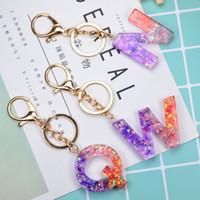 Sequined 26 Буквы Акриловые брелок A To Z Keyrings Key Chain Luxury Key Ring Висячие сумка Блеск Подвеска Key Holder аксессуары E92101
