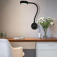 Vägglampa ArtPad Silver Black 5W LED Spot Lights AC90V-260V Aluminium Flexibel Gooseneck Bokläsning För säng Inomhusbelysning