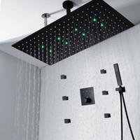 3 기능 LED 샤워 패널 욕실 595 * 300mm 숨어서 레인 샤워 마사지 스파 바디 제트 세트 핸드 샤워
