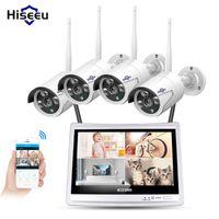 시스템 12 ''Displayer 4PCS 1080P 무선 CCTV IP 카메라 시스템 4CH NVR WIFI 비디오 감시 홈 보안 키트 히스트 뷰