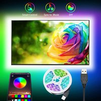 TV Bakgrund LED Strip Belysning 30LEDS M DC5V USB SMD5050 RGB med mini och Bluetooth-kontroll 3M 90LEDS SET + US-aktier