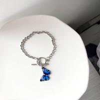 Nuevo elegante insecto azul mariposa pulsera collar para mujeres niñas minimalista cadena torcida colgante collar 2020 Declaración de joyería Regalos