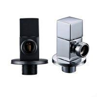 / 2 inodoro latón sólido trimestre Encienda Latón Titanio G1 cromo pulido válvula ángulo de accesorios de baño negro T200605