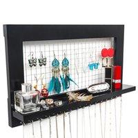 montado en la pared de la joyería Director de la joyería en rack Inicio almacenaje de la joyería del estante de exhibición con 16 ganchos Negro Material MDF