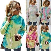 Mulheres Sherpa velo Hoodies túnica capuz desenhadores Tie-dye pelúcia engrossar Aquecer Capuz Casacos camisola de gola alta Gradiente partes superiores D82609