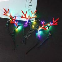 LED Antlers Light Up Headband Lumious Flashing Hair Sticks Halloween Christmas Party Cosplay Prop Light-emitting Xmas Deer Hair Clip D91703