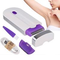 Corpo Donne ricaricabile professionale di rimozione indolore dei capelli Toccare Kit Epilator USB Viso Leg Bikini mano Shaver Hair Remover 0047
