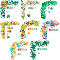 100pcs Balon Arch Kiti Yeşil Konfeti Metal Balon Düğün Doğum Jungle parti dekor Bebek Havai Parti Lateks Balon Cl200920