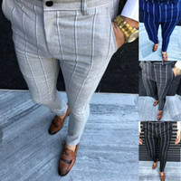 England Style Men Retro Dress Pants Male Formal Plaid Stripe...