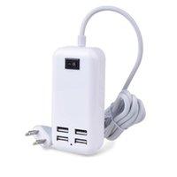 4USB Limanlar Telefon Şarj Hub 25 W 5A Masaüstü AB / ABD / İNGILTERE Fiş Duvar Soket Şarj Uzatma Soketleri Güç Adaptörü iPhone için