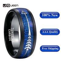 Monili di nozze placcatura nera intarsio blu imitazione Aerolite acciaio di tungsteno anello Freccia Uomini uomini caldi di vendita