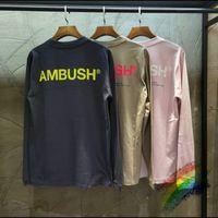 2020fwss T-shirt Homens Mulheres 1 camisa Top Quality Tee Letter T Apricot Big dentro de tags manga comprida