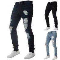 Мода Твердые белые джинсы Мужчины Sexy Ripped Hole Расстройства Омывается Узкие джинсы Мужской Повседневный Верхняя одежда Hip Hop Брюки 2020