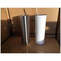 20 Unzen dünne Tumblers Blank Sublimation dünne Schale Kaffeetasse mit Deckel und Strohhalm Bier-Becher mit SEEverschiffen YYA429-1 100pcs