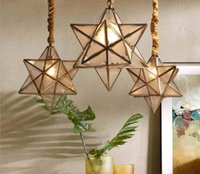 All copper star chandelier simple American bedroom lamp bar ...