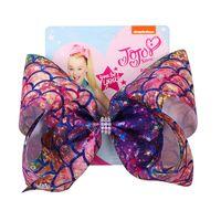 Com cartão de papel Jojo Siwa Hairpin Mermaid Escala cabelo Bow Mulheres Meninas bowknot Barrettes 8inch Big Bow Cabelo Clip Cocar Acessórios D82708