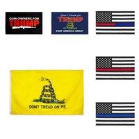 US STOCK Nova 90 * 150 Flag Trump 3 * 5 pés Thin Blue Line Flag Linha Vermelha US 14 2020 Flags presidenciais não pise em mim