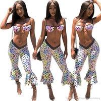 Полька 2pcs повседневные костюмы пляж Мода Printed Одежда Sexy Рюффер Женщины Узкие костюмы лето