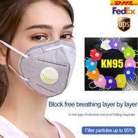 KN95 FFP2 Maske 6 Ebenen Bunte Designer Gesichtsmaske Aktivierte Kohlenstoff Luxus Wiederverwendbar Atmungsaktives Atemschutzventil Schutz Schwarzer Gesichtsschild
