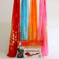 La primavera y el verano del pavo real del oro La bufanda de seda de la opinión venderá 1-5 Yuan regalo