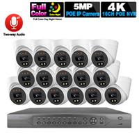 الأنظمة PoE نظام كاميرا الأمن 16ch 8CH 4K NVR كيت HD 5MP كامل اللون للرؤية الليلية IP CCTV فيديو كاميرات مراقبة