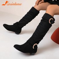 karin New Brand 2020 women shoes Flock Slip-On Buckle Straps Pleated Knee High Boots Leisure Big Size 46 Women Boots