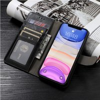Étui de téléphone portable à pinceau anti-vol pour iPhone 11 x / xs max 7 / 8p xr Luxe Slim Ajustement Slim Cuir de couverture en cuir Premium Slots Flip Shell
