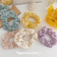 INS Vintage lace flower girls hair scrunchies fashion kids s...