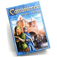 Carcassonne Winter Edition Jogo de diretoria em inglês contém jogos de cartão de extensões do rio para a família partidária
