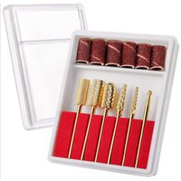 File per unghie Drill Bits Set Gold Carbide Art Bit Tools con custodia Stoccaggio (1 di 6 pezzi Fine Bit)