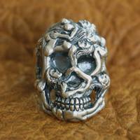 925 فضة مثير عارية Grils خاتم الجمجمة رجل السائق الشرير الدائري الولايات المتحدة حجم 8 ~ 10