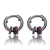 Nuova Tre anello personalizzato colori orecchini zirconio per gli uomini e le donne degli orecchini del cerchio delle donne simplicit hip hop