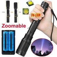 Super Helle 80000LM Taschenlampe taktische Wiederaufladbare T6-LED-Fackel-Foomable 5 Modi SOS + 2x 18650 Batterie + Ladegerät